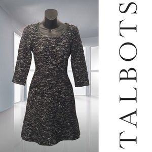 Talbots Tweed Dress with Faux Leather Trim